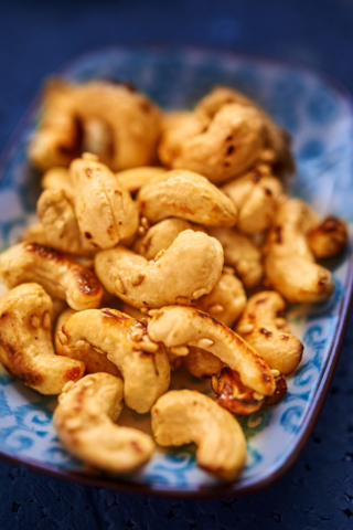 Rosted nuts closeup