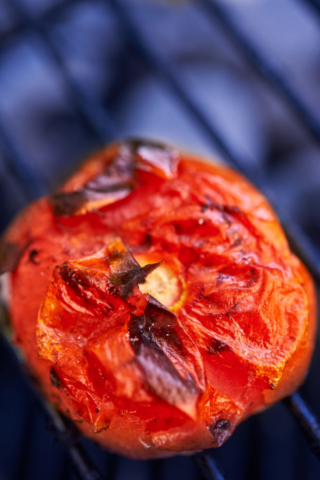 Grilled tomato close up