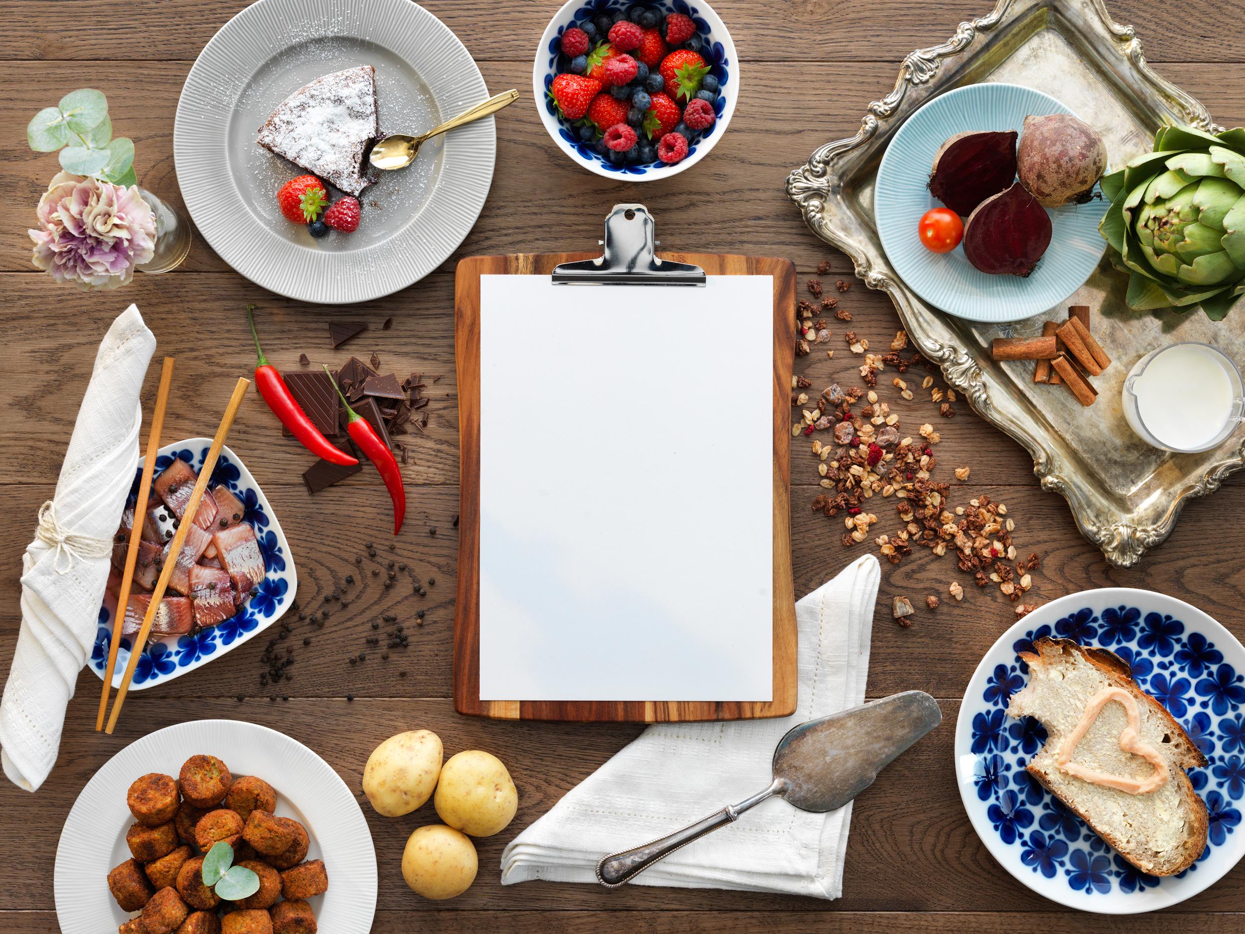 Food on a wood table