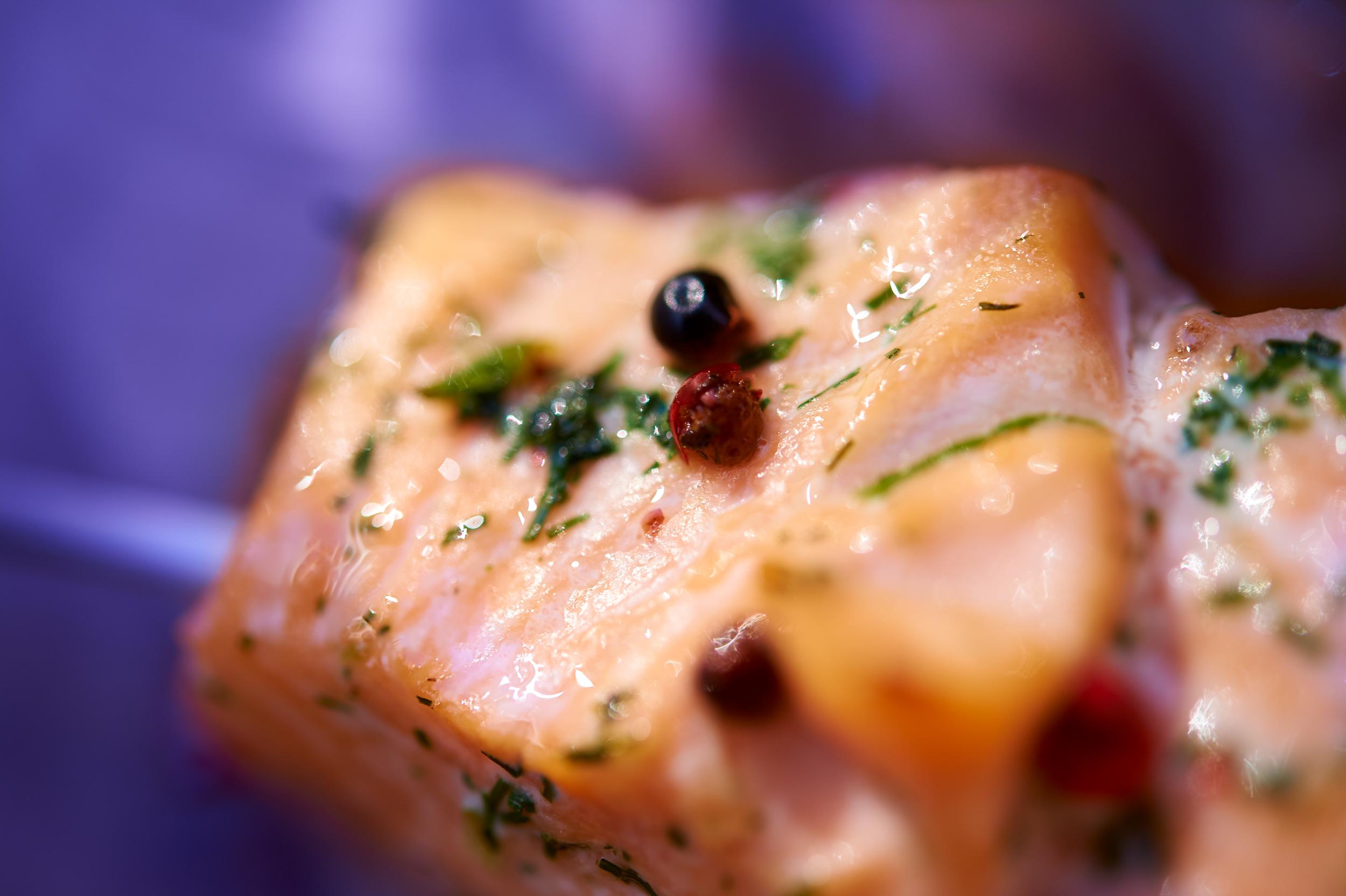 Salmon grilles closeup